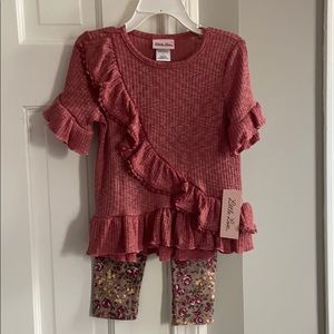 Little Lass Matching Sets - NWT Burgundy two piece pant set